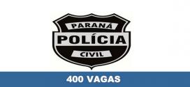Concurso Polícia Civil PR: 400 vagas abertas e Salários de até R$ 18 mil.