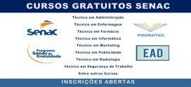 senac abre inscrições para cursos técnicos gratuitos